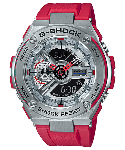 G-Shock G-Steel Red and Stainless Steel GST410-4A