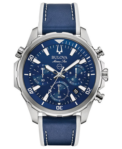 Bulova Men's Marine Star Leather Chronograph Watch - 96B287