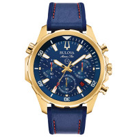 Bulova Men's Marine Star Leather Chronograph Watch - 96B168