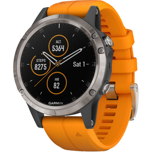 Garmin fenix 5S Plus Sapphire Edition Multi-Sport Training GPS Watch (47mm, Titanium with Solar Flare Orange)