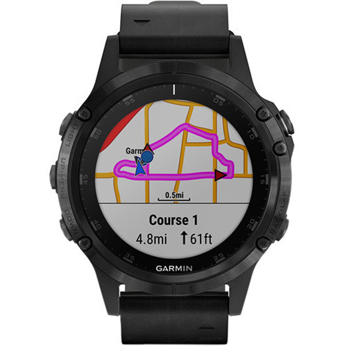 Garmin fenix 5S Plus Sapphire Edition Multi-Sport Training GPS Watch (47mm, Black with Black Leather Band)