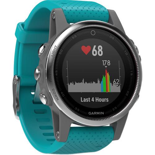 Garmin fenix 5S Multi-Sport Training GPS Watch (Silver, Turquoise Band)