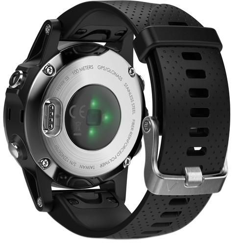 Garmin fenix 5S Multi-Sport Training GPS Watch (Silver, Black Band)