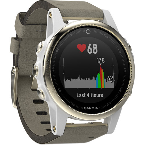 Garmin fenix 5S Sapphire Edition Multi-Sport Training GPS Watch (Champagne, Gray Suede Band)