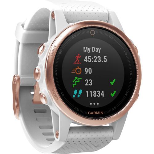 Garmin fenix 5S Sapphire Edition Multi-Sport Training GPS Watch (Rose Goldtone, White Band)