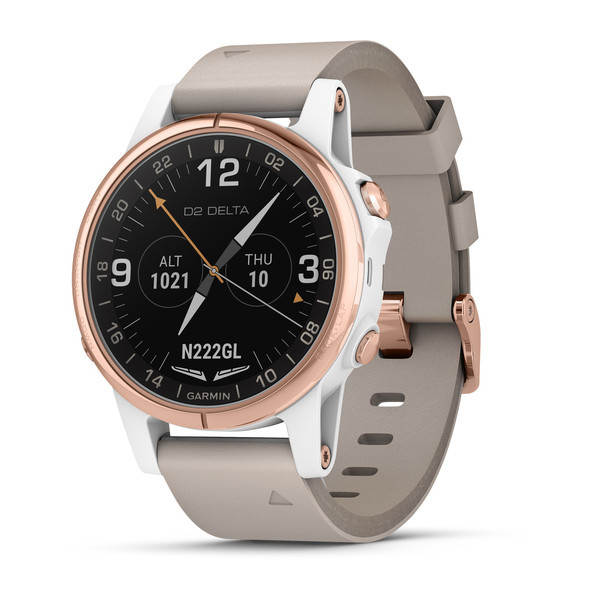 Garmin D2 Delta S Aviator Watch with Beige Leather Band