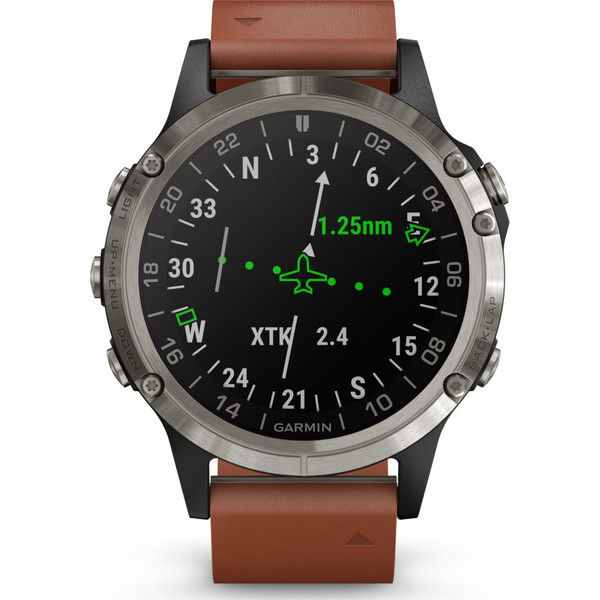 Garmin D2 Delta S Aviator Watch with Brown Leather Band