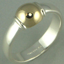 LeStage Sterling Silver and 14K Gold Ball Cape Cod Ring. Size 5 ONLY LEFT