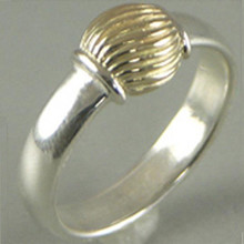 Size 5 Cape Cod Sterling Silver and 14K Gold Swirl Ball Ring.
