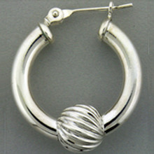 Beautiful Sterling Silver Cape Cod Earrings with Silver Swirl Ball.