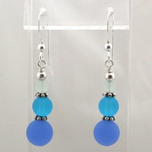 Light Blue Sea Glass Drop Earrings