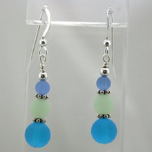 Aqua Blue Sea Glass Drop Earrings