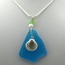 Sterling Silver Scallop and Aqua Sea Glass Necklace