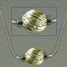 Sterling Silver and 14K Gold Swirl Ball Cape Cod Necklace.