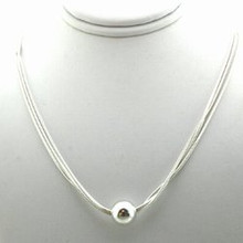 Sterling Silver Triple Strand Necklace 18""