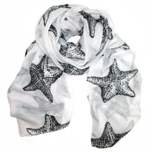White with Black Starfish Scarf