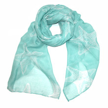Teal with White Starfish Scarf