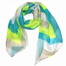 Chevron with Dark Turquoise, Lime, Tan and White Scarf
