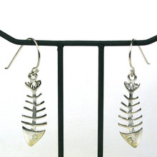Sterling Silver Dangle Fish Bone Earrings