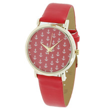 Red with White Anchors Watch