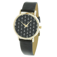 Black with White Anchors Watch