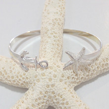 Sterling Silver Anchor and Starfish Cuff Bracelet
