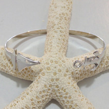 Sterling Silver Anchor and Sailboat Cuff Bracelet