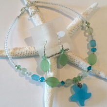 Sea Glass Inspired Necklace and Earring Set 1