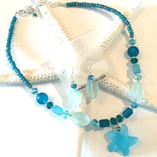Sea Glass Inspired Necklace and Earring Set 5