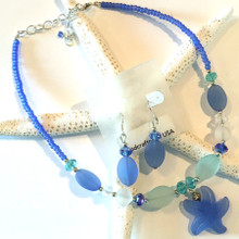 Sea Glass Inspired Necklace and Earring Set 6