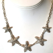 Multi Starfish Necklace with Crystal Stud Earrings Set