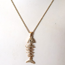 Gold Tone Fishbones and Crystal Necklace 18""