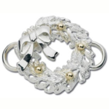 Sterling Silver and 14K Gold Wreath with Bow Clasp