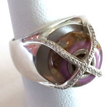 Sterling Silver  Bead Ring with Swarovski Crystals