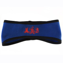 Monogrammed Fleece Colored Headband with Black Trim