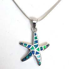Sterling Silver Opal Inlay Medium 1 Starfish Necklace