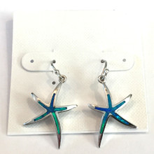 1 Sterling Silver and Opal Inlay Skinny Starfish Dangle Earrings