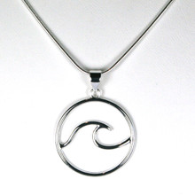 Classic Sterling Silver Wave  Necklace