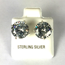 Sterling Silver 10 MM CZ Stud Earrings