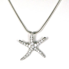 "Sterling Silver and CZ Starfish Necklace 18"" ONLY"