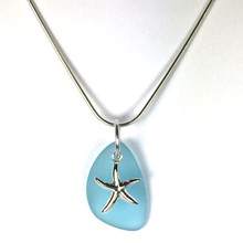 Sterling Silver Seaglass and Starfish Necklace