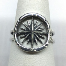 Sterling Silver Oxidized Compass Ring