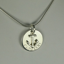 Sterling Silver or Gold Plate Anchor with Cape Cod Engraved Necklace