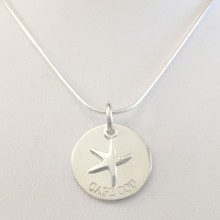 Sterling Silver Starfish on Cape Cod Disk Necklace Small