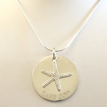 Silver Starfish on Cape Cod Disk Necklace Large