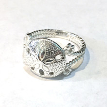 Sterling Silver Sand Dollar and Rope Ring