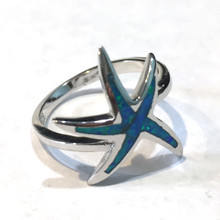 Sterling Silver and Opal Large Starfish Ring