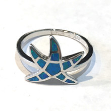 Sterling Silver and Opal Small Starfish Ring