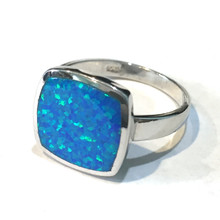Sterling Silver and Opal Square Ring