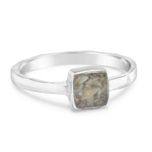 Corporation Beach Sand Sterling Square Stacker Rings